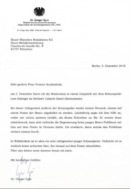 Gregor Gysi Schreibt Offiziellen Brief An Die Bravo Um Für Ein
