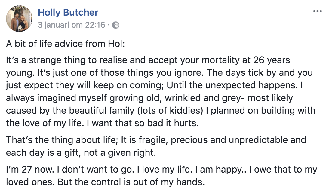 Recently deceased Holly 27 goes viral with her life advice in her